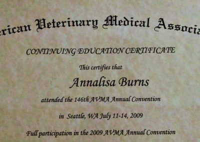 American Veterinary Medical Association Continuing Education Certificate to Annalisa Berns for attending the 146th AVMA Annual Convention in 2009.