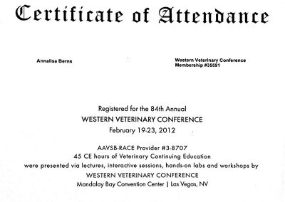 84th Annual Western Veterinary Conference (WVC) Certificate of Attendance for Annalisa Berns in Las Vegas, Nevada.