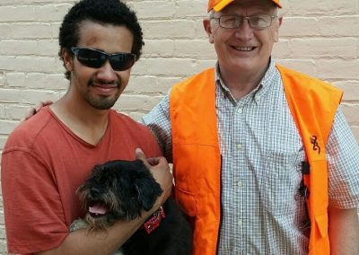 Ohio Pet Detective Jim Berns with a happy client and their safe dog reunited!
