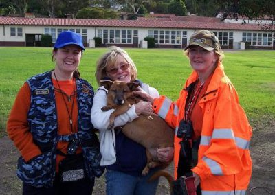 Lost Dog in Los Angeles, California Found the Same Day as Search with Search Dogs on a Cliff. Posing with Annalisa Berns and Landa Coldiron.