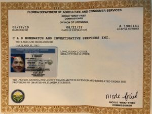 Susan Long's Private Investigator License in the State of Florida